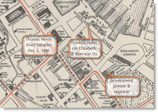 map of Hobart 1893 shows sites of the ghost incident