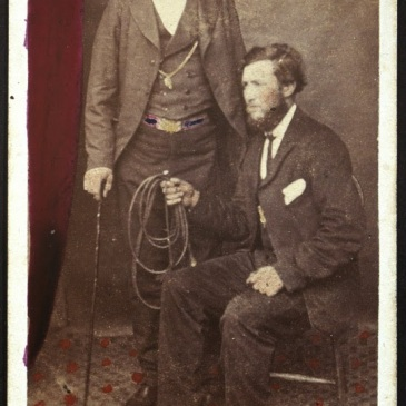 Hand-colured cdv of two men by T. J. Nevin 1860s