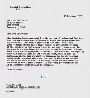 GT Stilwell letter 1977