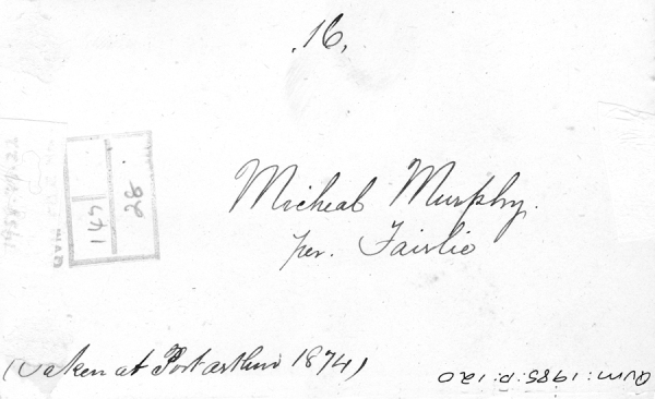 Michael Murphy transported on the Fairlie 18521985_P_0120_versomurphymich