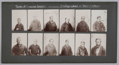 Forty prints of 1870s Tasmania prisoners in three panels
