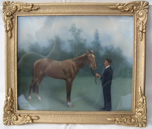 Albert Nevin with horse, painted photograph in frame, 1917