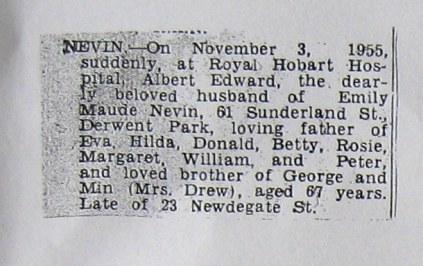 Obituary for Albert Nevin, Tasmania, 1955