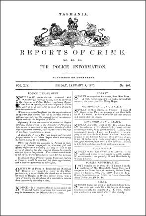 Tasmania Reports of Crime 1875 cover