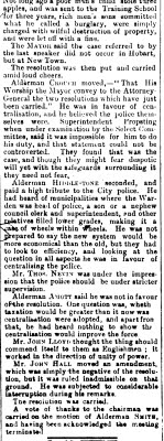 Nevin at Council meeting re police 19 July 1888