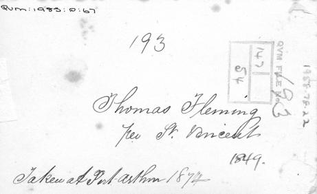 Verso cdv of convict Thomas Fleming