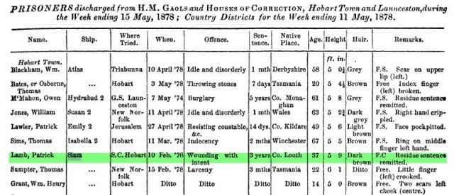 Patrick Lamb discharged 11 May 1878
