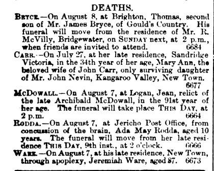 Mary Ann Carr nee Nevin died 9 Aug 1878