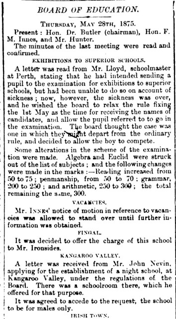 John Nevin and the night school 28 May 1875