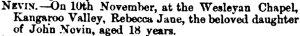 Death of Rebecca Nevin 23 Nov 1865