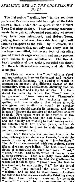 Spellin Bee 25 Sept 1875