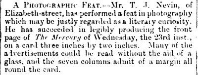 Thos Nevin photographic feat Mercury 24 Dec 1874