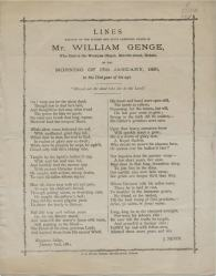 Lament for Mr Wm Genge 1881