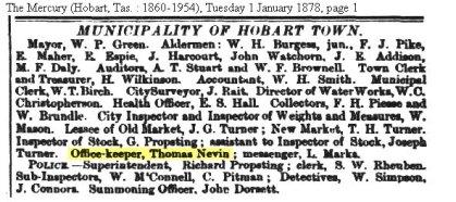 Thomas Nevin Office keeper Municipal Council Hobart