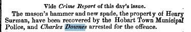 Charles Downes 1 Sept 1871 arrest