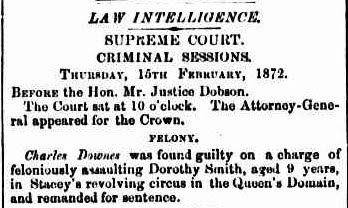 Mercury report of Charles Downes sentence 15 Feb 1872