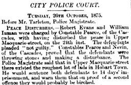 Constable Nevin, Mercury, 27 October 1875