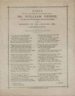 Lament on Genge by John Nevin 1881