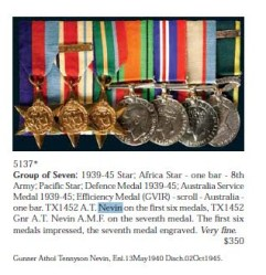 ANZACS: Gunner Athol Tennyson Nevin and his WW2 medals