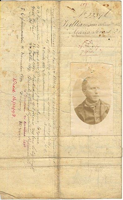 Williamson mugshot on parchment