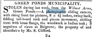 Sam Clifford's stolen camera 1878
