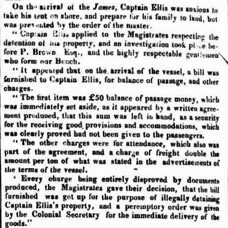 Cpt Goldsmith, the James Colonial Times 9 July 1830b