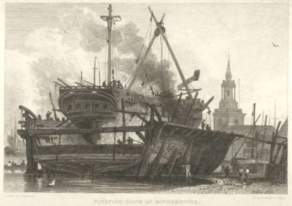 Floating Dock, Rotherhithe, 1815