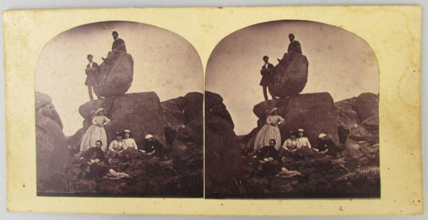 Rocking Stone party Mt Wellington by T. Nevin 1870