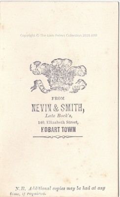 Verso, Young man in check jacket, Nevin & Smith, Hobart 1868
