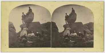On the Rocking Stone Mt Wellington Hobart Stereograph by Thomas J. Nevin 1860s TMAG Collection Ref: 16826.4