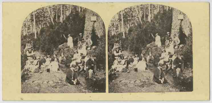 Group at Sir John Franklin's tree, Kangaroo Valley, Tasmania