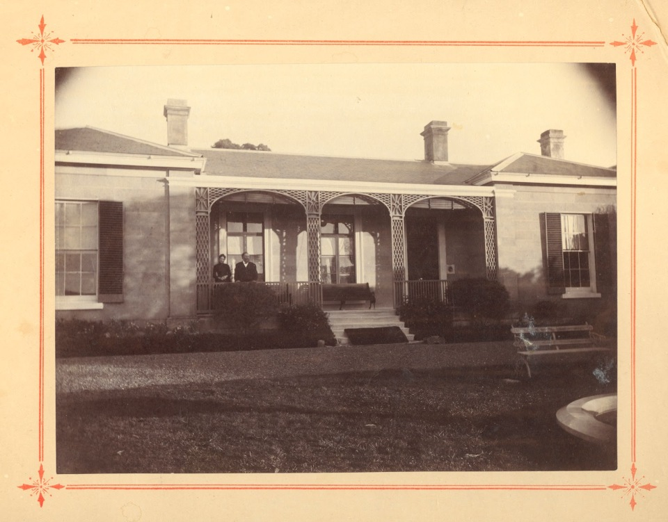 Elizabeth and James Bayley on the verandah at Runnymede, New Town, Tasmania ca. 1890