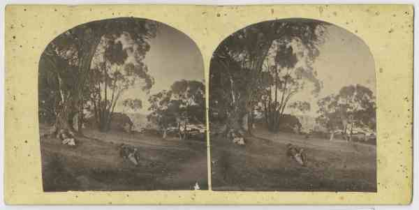 Thomas Nevin, lower figure, with friend on the Queens Domain, Hobart. ca 1870