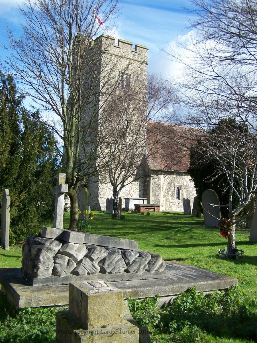 Captain Edward Goldsmith's grave at Chalk Church, Kent