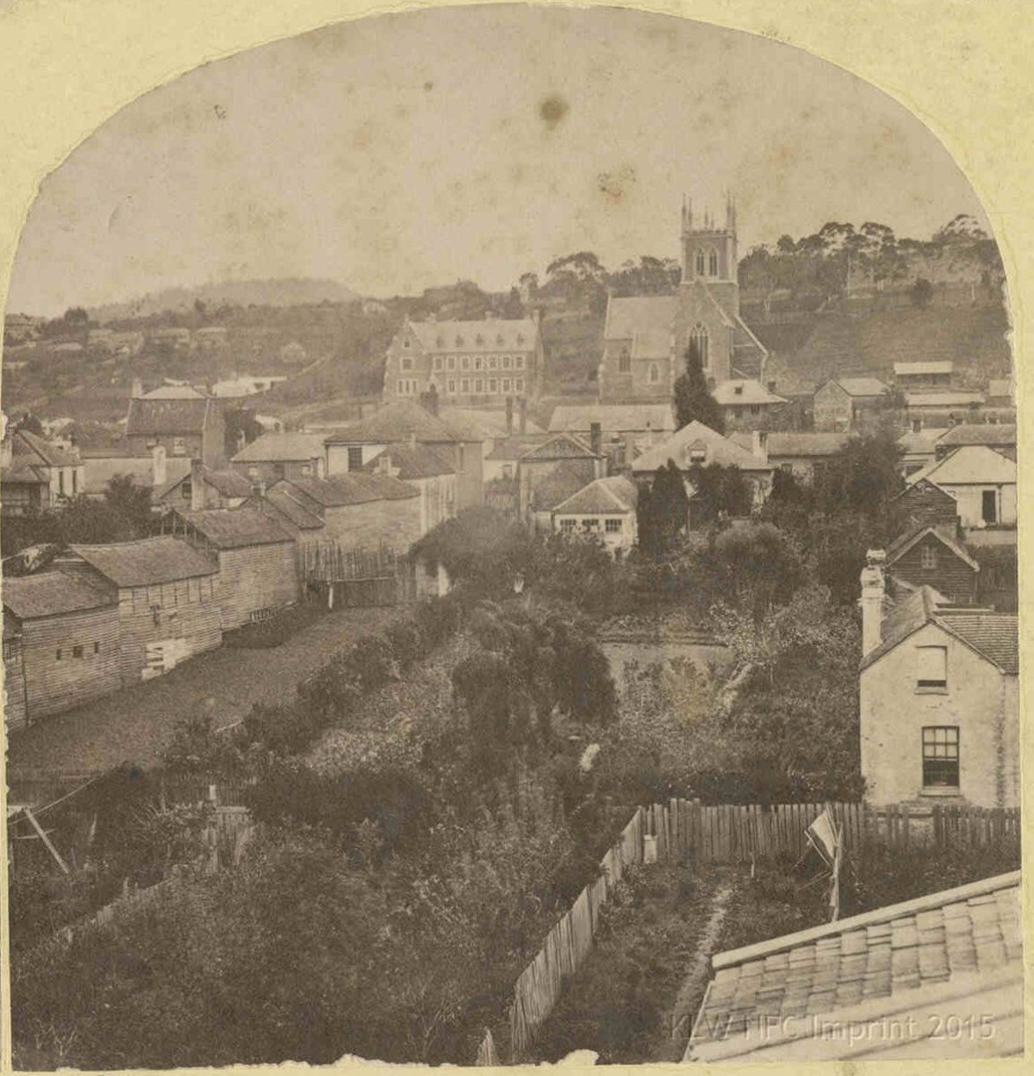 Thomas Nevin's stereo view of St Mary's Cathedral, Hobart, ca. 1874