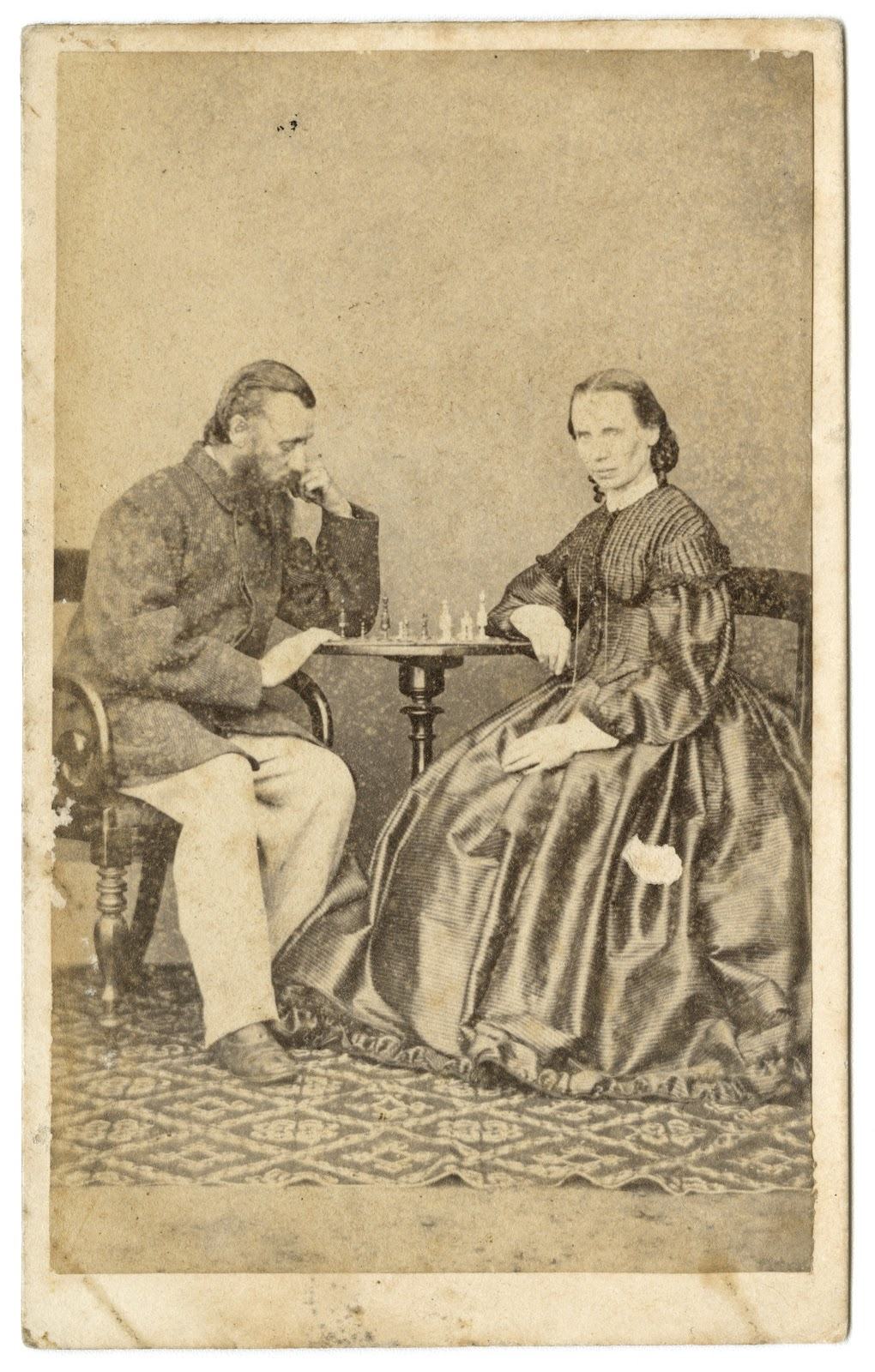 Alfred Barrett and wife Harriet Biggs playing chess 1870s