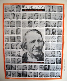 Poster of Tasmanian prisoners' photographs by T. J. Nevin 1870s (1991 QVMAG Collection)