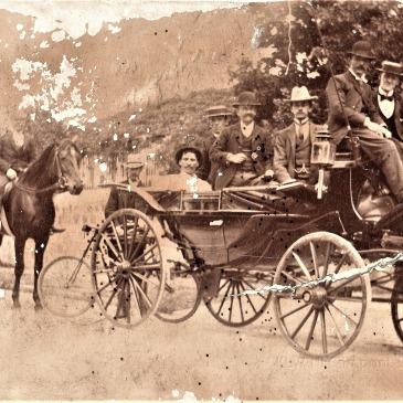 Alfred Hope's carriage with Albert Nevin on horseback
