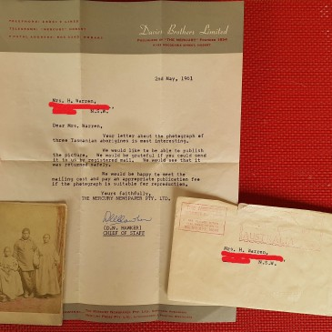 Letter to Mercury 1961 re cdv of Tasmanian Aborigines in Nevin family collections